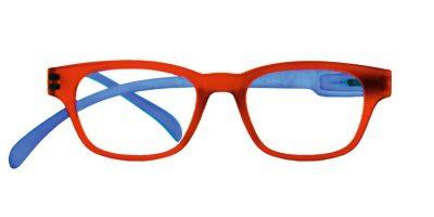 Klammeraffe Brille mit Lese-Stärke in blau/rot